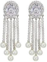Nina Pearl CZ Fringe Clip Earrings (Rhodium/White CZ/White Glass Pearl) Earring