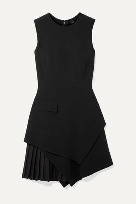 Oscar de la Renta Layered Pleated Grain De Poudre Wool-blend Mini Dress - Black