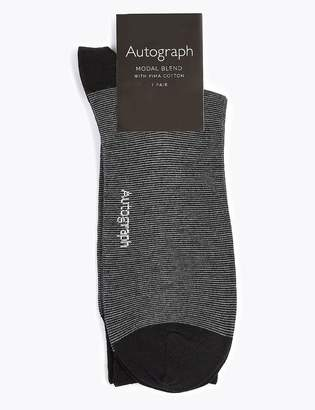 Marks and Spencer Modal Pima Cotton Striped Smart Socks