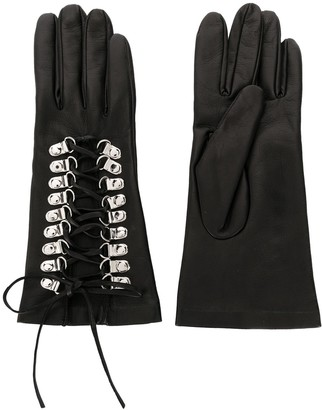 Manokhi Textured Lace-Up Detail Gloves