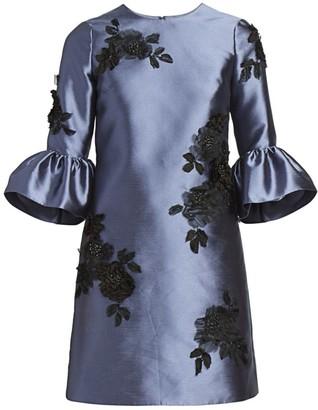 Erdem Elijah Rose-Embellished Silk Dress