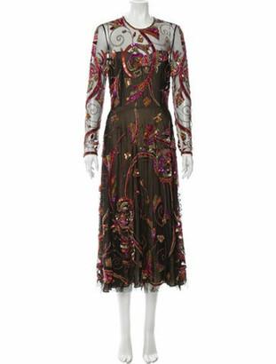 Naeem Khan Silk Midi Length Dress w/ Tags Black
