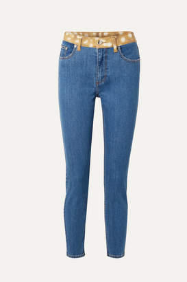 Burberry Animal-print Trimmed High-rise Skinny Jeans - Indigo