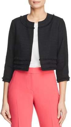 Karl Lagerfeld Paris Frayed Tweed Cropped Jacket