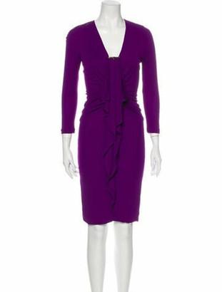 Gucci V-Neck Knee-Length Dress Purple