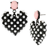 Betsey Johnson Monochrome Faux Pearl Heart Drop Earrings