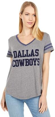 Dallas Cowboys Dallas Cowboys Rosie Chenille Tee (Medium Heather Grey/Navy) Women's Clothing