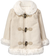 Gymboree Cream Faux Fur-Trim Fleece-Lined Coat - Infant