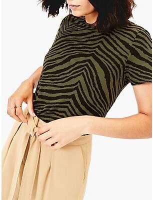 Oasis Tiger Print Dip Hem T-Shirt, Khaki