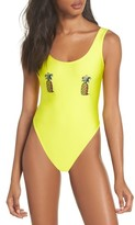 Private Party Women's Classic Pineapple Neon One-Piece Swimsuit