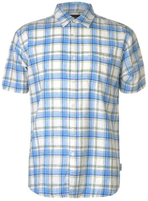 Pierre Cardin Check Linen Shirt Mens