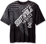 Southpole Men's Big and Tall Short Sleeve Foil and Screen Print Tee with Slanting Logo