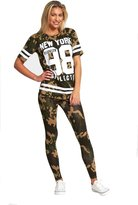 Janisramone Womens Ladies New York 98 Camouflage Army Print T Shirt Legging Two Piece Lounge Set Tracksuit