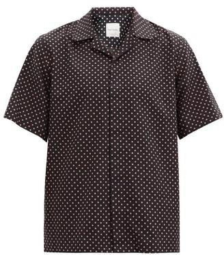 Paul Smith Cuban-collar Polka-dot Cotton-poplin Shirt - Black Orange