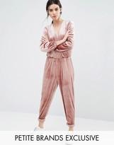 One Day Petite Allover Velvet Wrap Front Jumpsuit