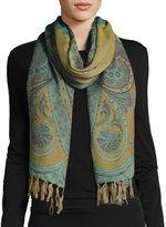 Sabira Desiree Paisley Wool Stole, Light Blue