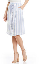 Skies Are Blue Stripe Button Front Midi Skirt