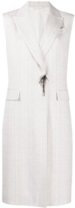 Brunello Cucinelli Striped Sleeveless Coat
