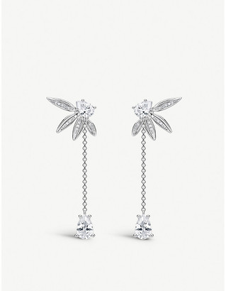 Thomas Sabo Magic Garden sterling silver and zirconia leaf drop earrings