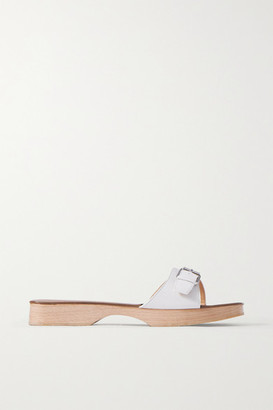 BY FAR Buckled Leather Slides - White