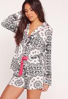 Missguided Paisley Print Pyjama Set White