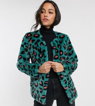 Brave Soul Tall fliss leopard faux fur coat
