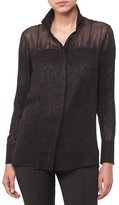 Akris Button-Front Long-Sleeve Beaded-Embellished Silk Blouse