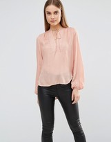 AX Paris Blouse With Front Panel And Tie Front