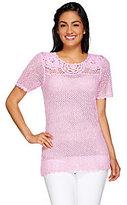 Denim & Co. Marled Crochet Short Sleeve Sweater with Scoopneck