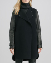 Vince Leather-Sleeved Double-Face Wool Coat, Black