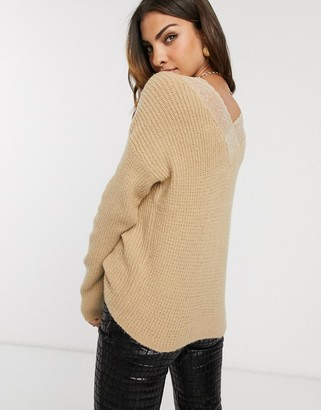 Vila oversized jumper with lace back detail-Beige