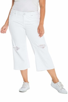 SLINK Jeans The Mid Rise Wide Leg Crop Pants in Optical White Size 24
