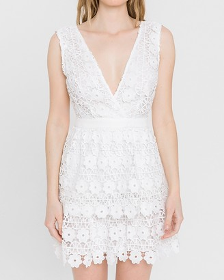 Express Endless Rose Embroidered Lace Mini Dress