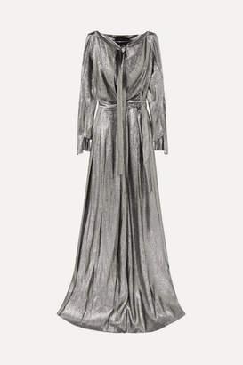 Roland Mouret Tie-front Cutout Lurex Gown - Silver