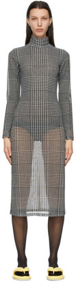 MM6 MAISON MARGIELA White and Black Sheer Check Dress
