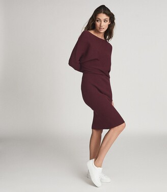 Reiss Lara - Off-the-shoulder Knitted Dress in Berry
