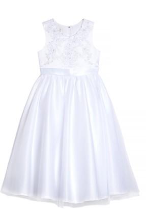 Lauren Marie Beaded Bodice Satin & Tulle Communion Dress