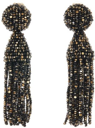 Oscar de la Renta Metallic Short Tassel Earrings