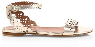 Tabitha Simmons Laser-Cut Bobbin Metallic-Leather Sandals