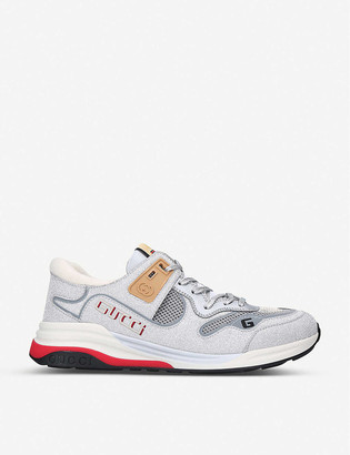 Gucci Ultrapace panelled leather, mesh and reflective-woven trainers