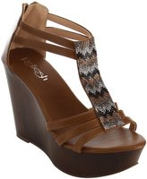 Refresh IE24 Women's T-strap Back Zipper Platform Wedge Sandal, Color:, Size:8