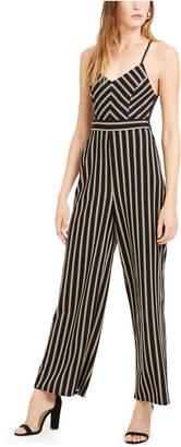 Almost Famous Juniors' Striped Lace-Back Cami Jumpsuit