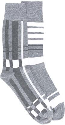 Thom Browne Plaid Jacquard Mid-Calf Socks