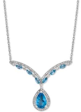 "Macy's Blue Topaz (2-1/6 ct. t.w.) & Diamond (1/3 ct. t.w.) 17"" Statement Necklace in 14k White Gold"