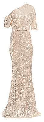Badgley Mischka Women's Asymmetric Draped Sequin Mermaid Gown