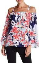 Parker Long Sleeve Cold Shoulder Floral Print Blouse