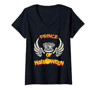 Womens Angelic Prince of Halloween angel wings for boys V-Neck T-Shirt