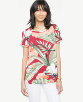 Ann Taylor Petite Island Floral Piped Tee