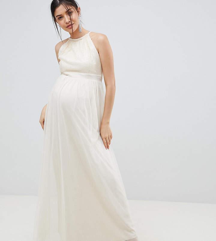 Little Mistress Maternity sequin high neck maxi dress in cream