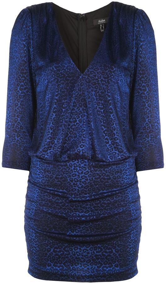 Aidan Mattox Metallic Leopard-Print Cocktail Dress